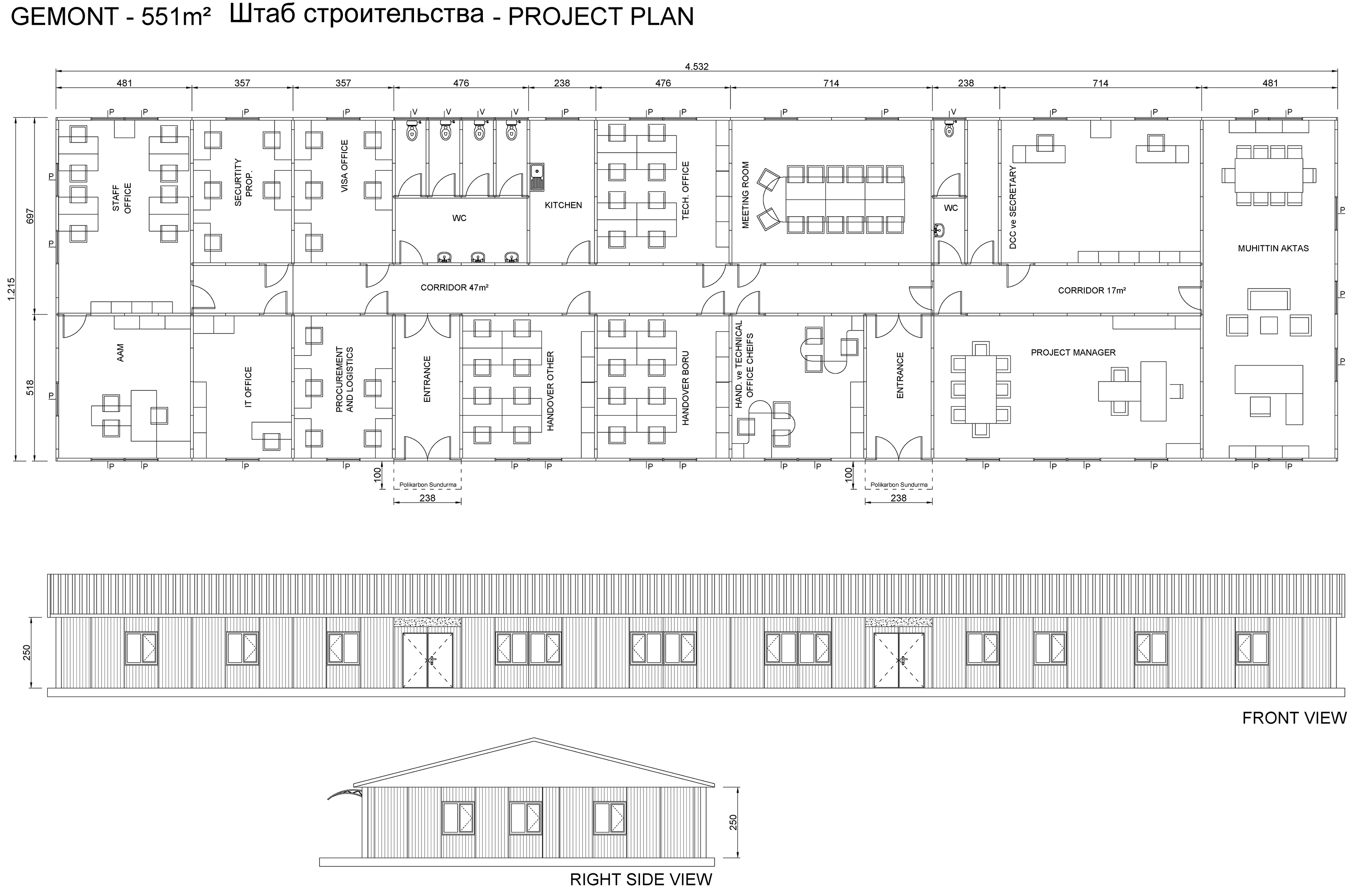 gemont 551m² PREFABRICATED SITE OFFICE BUILDING - PROJECT PLAN